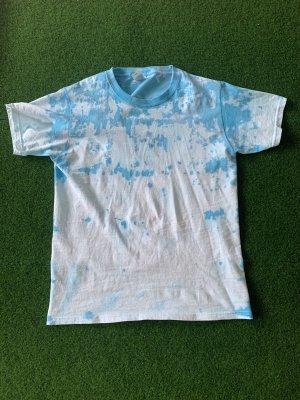 Top batik bleu clair-blanc