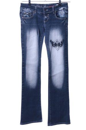 Blue Queen Boot Cut Jeans blau-weiß Casual-Look