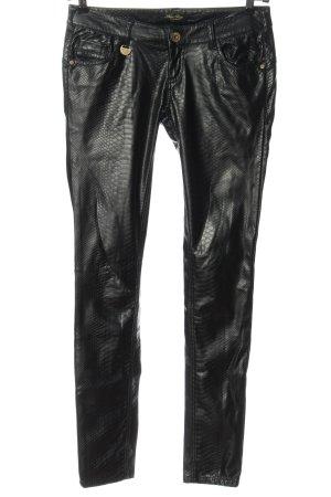 Blue Rags Pantalon en simili noir motif animal élégant