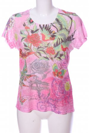 Blue Seven Short Sleeved Blouse pink-green allover print casual look