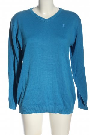 Blue Seven V-Neck Sweater blue embroidered lettering casual look