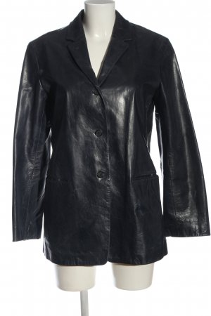 Blue Strenesse Leather Coat black casual look