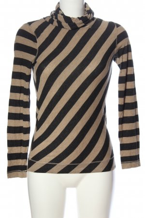 Blue Strenesse Turtleneck Shirt black-cream striped pattern casual look