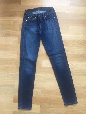 7 For All Mankind Skinny Jeans dark blue cotton