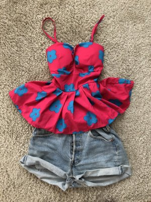 Peplum Top raspberry-red-blue