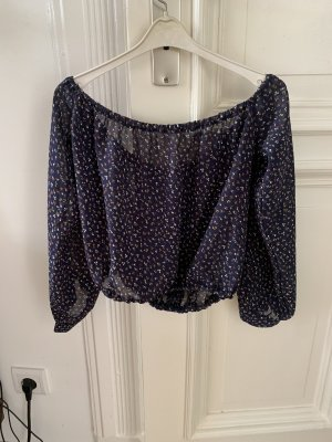 True Vintage Top spalle scoperte blu