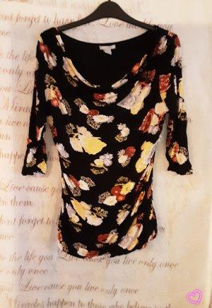 Camisa con cuello caído negro-marrón arena