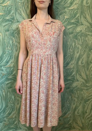 Blümchenkleid mit Falten an den Schultern Made in Frankreich