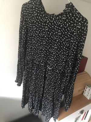Blümchenkleid mit Rüschen schwarz weiß NEU