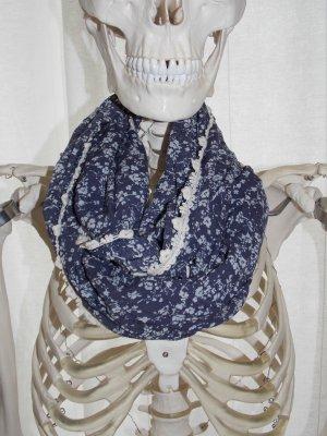 Écharpe bleu foncé-blanc