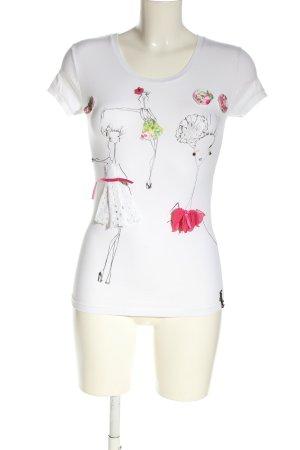 Blugirl Blumarine T-shirt biały-czarny Nadruk z motywem W stylu casual