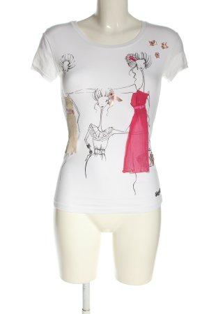 Blugirl Blumarine T-shirt biały-różowy Nadruk z motywem W stylu casual