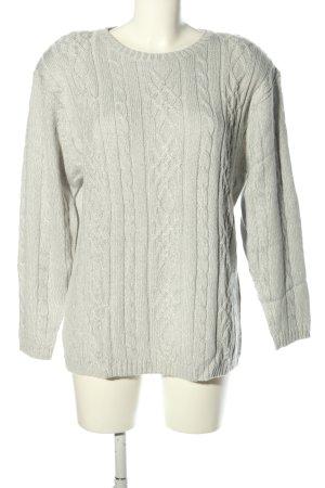 BLUHM COLLECTION Sweter z dzianiny jasnoszary Warkoczowy wzór W stylu casual