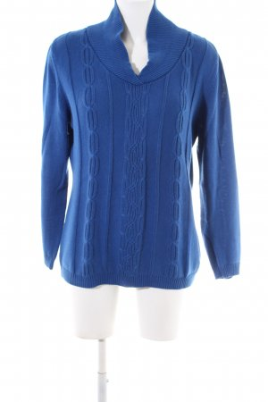 Bluhmod V-Ausschnitt-Pullover blau Zopfmuster Casual-Look
