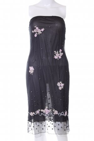 Blumarine Bandeau Dress black-pink flower pattern casual look