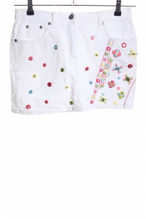 Blumarine Denim Skirt white-pink flower pattern casual look