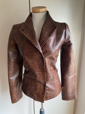 Blumarine Leather Jacket cognac-coloured