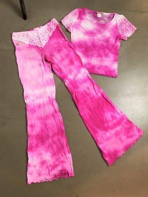 * BLUMARINE * Netz Shirt NYLON  pink Batik HIPPIE SPITZE Ziersteine Gr It 46 D 40