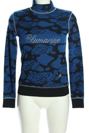 Blumarine Rollkragenpullover blau-schwarz abstraktes Muster Casual-Look