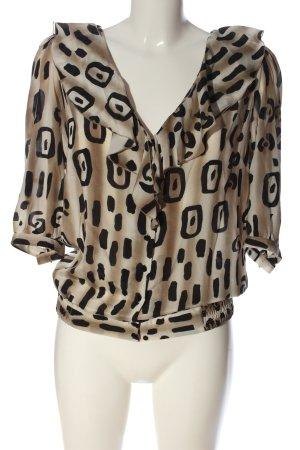 Blumarine Jedwabna bluzka w kolorze białej wełny-czarny Graficzny wzór