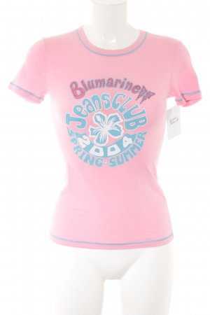Blumarine T-Shirt pink-light blue printed lettering casual look