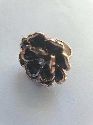 Blumen Blüten Ring schwarz Gold mit Strass Schmuckstein eleganter Statementring