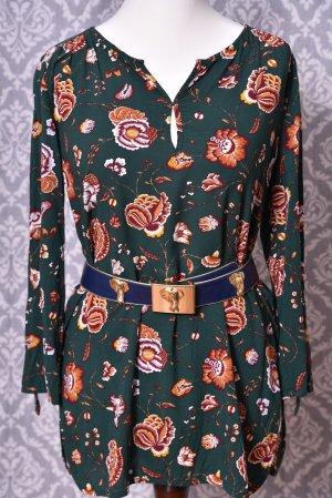 Blumen Bluse Tunika grün Gr. S/M