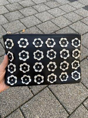 Blumen Clutch schwarz weiss Tasche