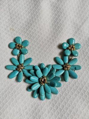 Blumen Collier mit Türkisen