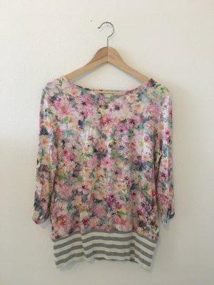 Blumen floral Print Druck Ringel bunt Farbe grau weiß Long Top Oberteil Shirt Dreiviertel Uboot elastisch bequem leicht