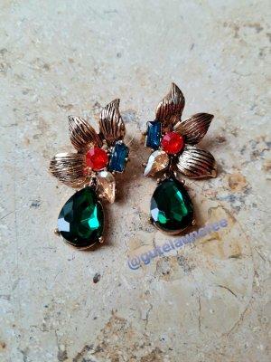 Blumen Ohrringe mit großen grünen Kristallsteinen antikgoldfarben
