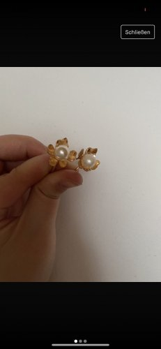 SheIn Ear Hoops gold-colored-white metal