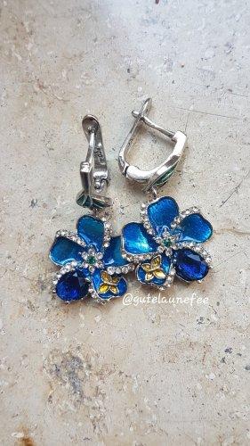 Blumen Ohrringe Ohrhänger mit Strass Zirkonia blau emailliert
