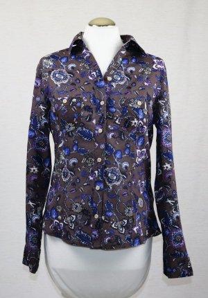 Blumen Print Bluse Outfit Fashion by NKD Größe 38 M Braun Blau Lila Beige Landhaus Tailliert Hemd