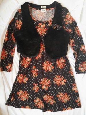 Blumen Vintage Orange Kleid  Weste Molly Bracken