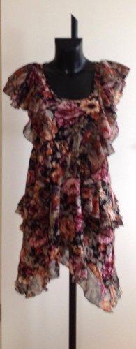 H&M Vestido estilo flounce negro-magenta Viscosa