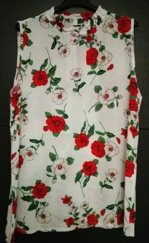 Blumenbluse, ärmellos, weiß,TU, wunderschön