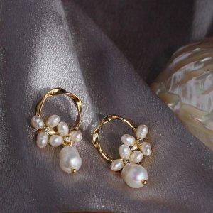 Blumenfee Neu Barock echte Perlen Ohrringe