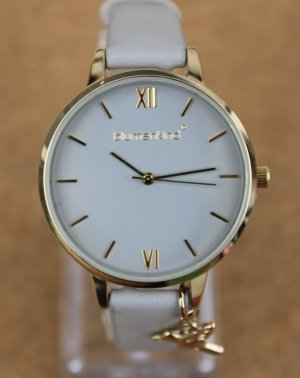 blumenkind Watch With Leather Strap gold-colored-grey