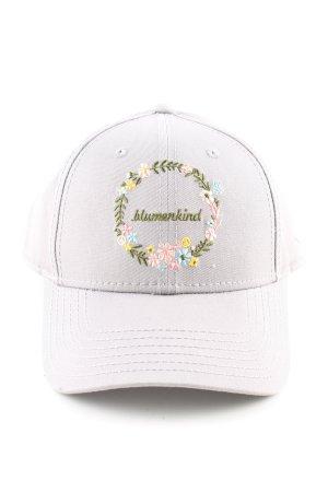 blumenkind Casquette de baseball gris clair motif de fleur style décontracté