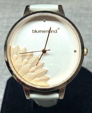 blumenkind Montre avec bracelet en cuir or rose-gris clair