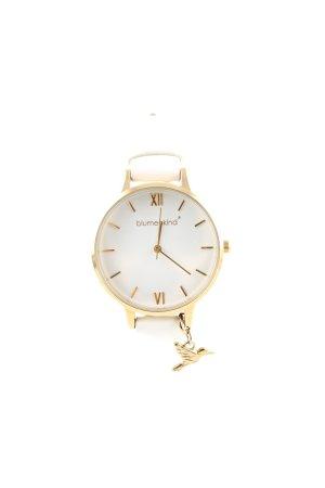 blumenkind Reloj con pulsera de cuero blanco-color oro look casual