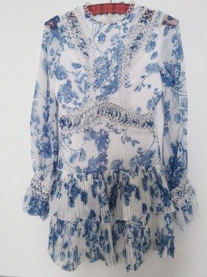 Asos Sukienka mini biały-stalowy niebieski