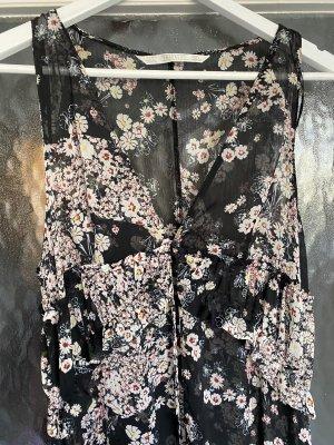 Blumenkleid mit Schlitzen in schwarz