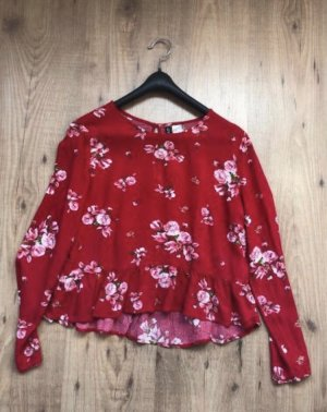 H&M Cowl-Neck Shirt red