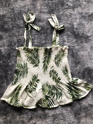 H&M Frill Top white-lime-green