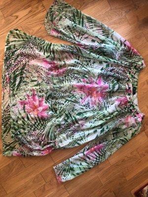 F&F Sukienka tunika jasnozielony-różowy Poliester
