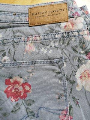 Maison Scotch Pantalon cinq poches bleu pâle-bleu azur coton