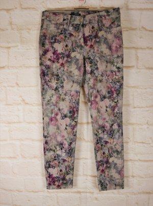Blumige Jeans Hose Gardeur Größe S M 38 K Rosa Grau Rosen 3D Druck Stretch Jeanshose Kurzgröße