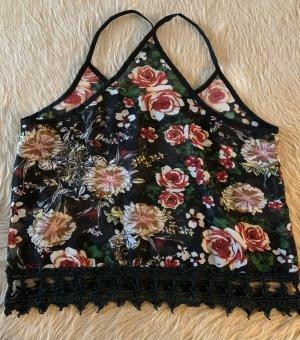 Blumiges Sommer Shirt, mit häkel Bündchen unten, S